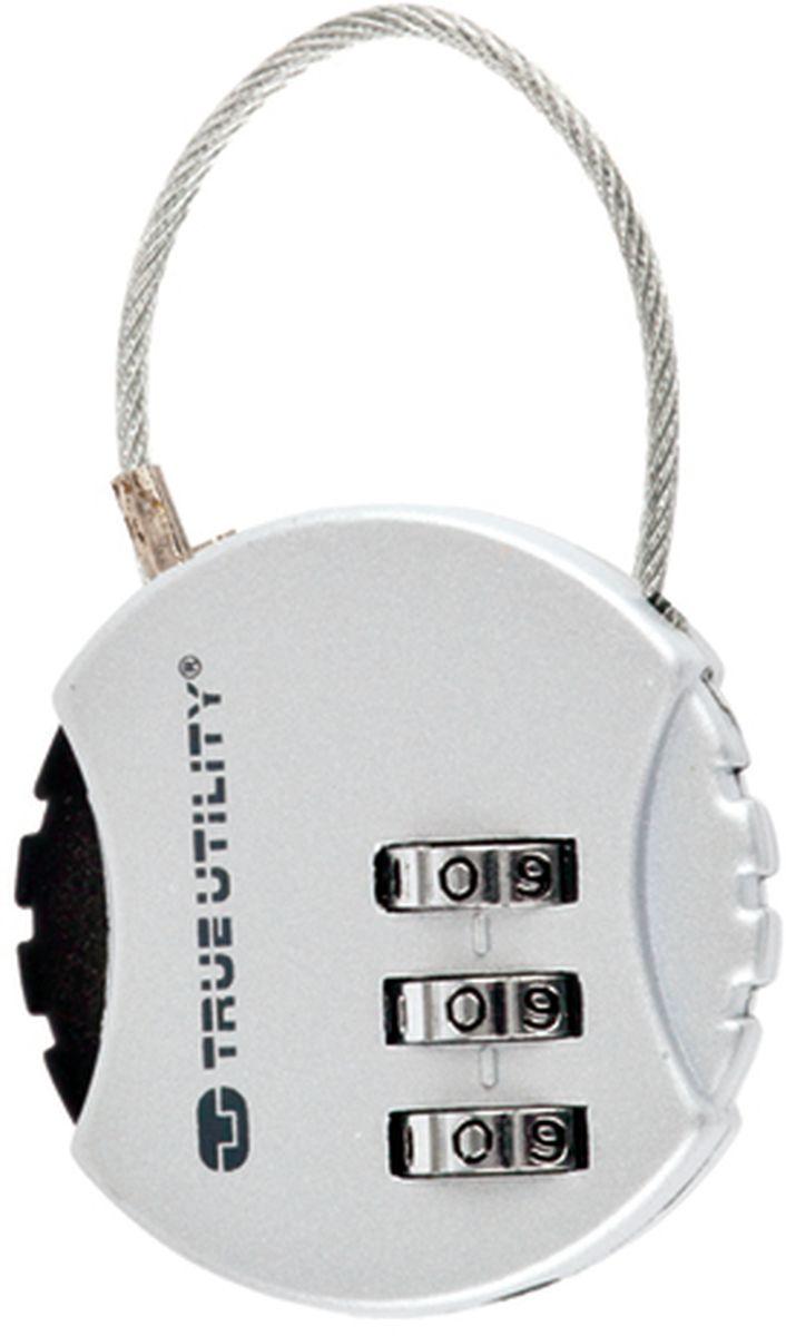 Брелок-кодовый замок True Utility, с тросом CombiLockZ90 blackКодовый замок с комбинацией из трех цифр обеспечивает сохранность вещей или ключей, стальной тросик, стойкий к надрезам. Диаметр замка 39 мм, высота 9 мм.