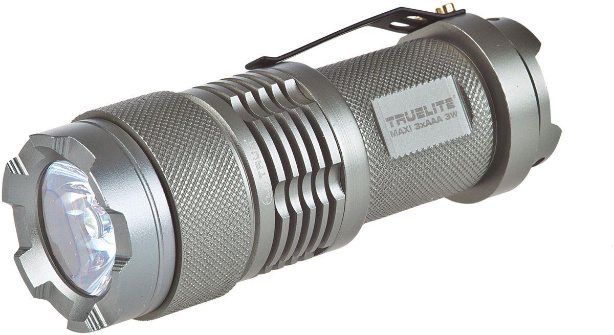 Фонарь ручной True Utility TrueLite MaxiKOCAc6009LEDРучной фонарик True Utility TrueLite Maxi отличается значительной мощностью светового луча. Корпус изделия выполнен из анодированного авиационного алюминия. Фонарик позволяет регулировать яркость света и отличается длительным сроком эксплуатации. Он прекрасно подходит для использования как в быту, так и для выполнения профессиональных работ. Включение/выключение производится посредством поворота корпуса. Источник питания 3 батареи типа ААА (в комплект не входят).Яркость: 120 лм.Мощность: 3 Вт. Вход: Кремниевый кристалл 750 МА.Время работы: 100% = 6ч; 30%=18ч.