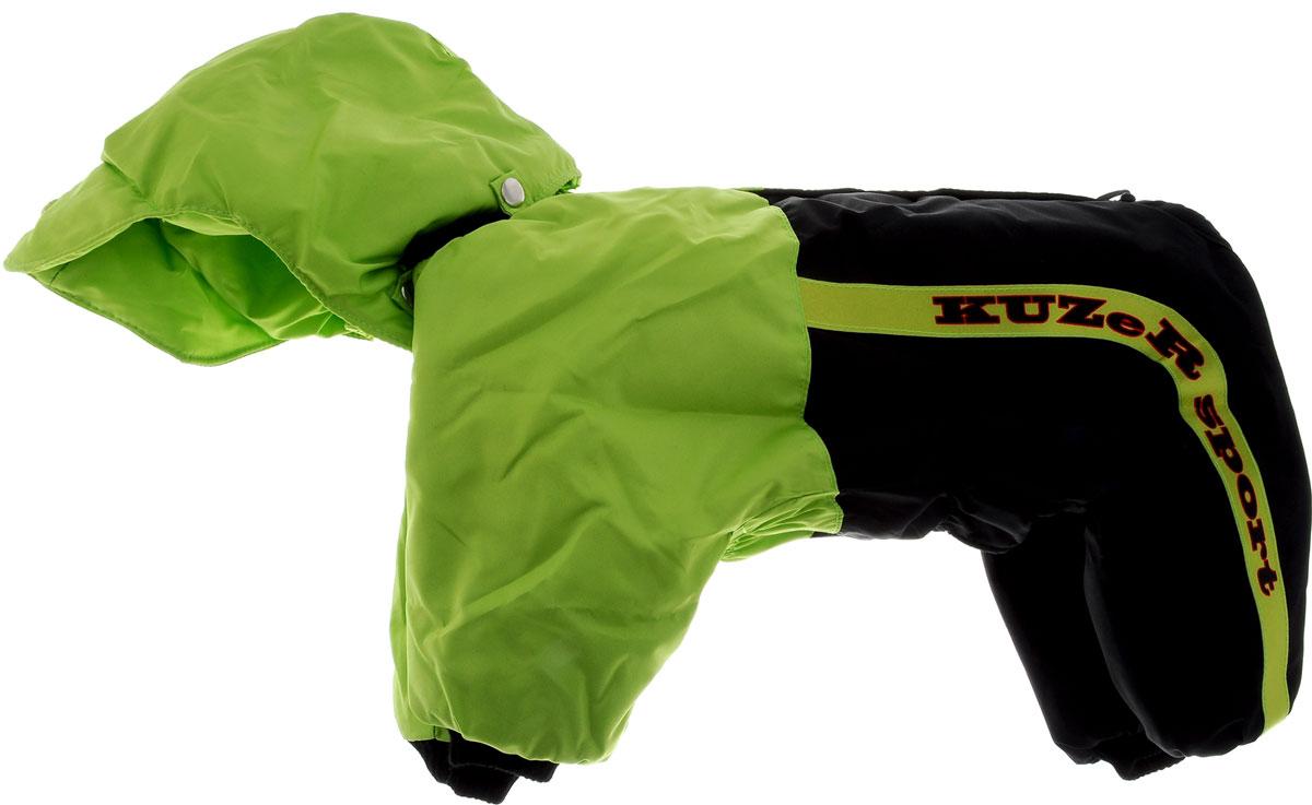 Комбинезон для собак Kuzer-Moda Пилот, утепленный, для мальчика, цвет: черный, салатовый. Размер XL