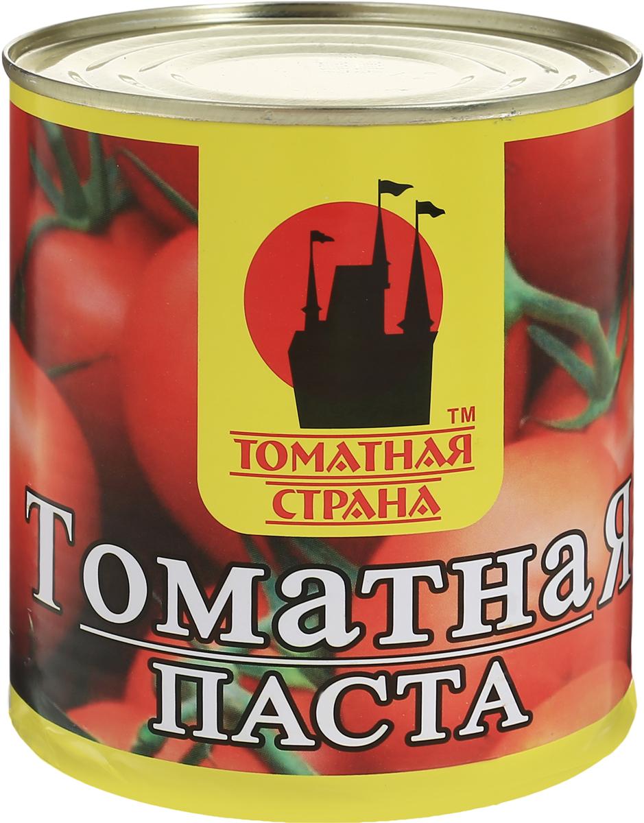 Томатная страна Паста томатная, 780 г0120710Томатная паста Томатная страна - кулинарная паста из помидоров. В процессе изготовления помидоры протирают для получения гомогенной массы, а затем концентрируют полученное изделие, в частности, путем уваривания. Томатная паста отличается от томат-пюре большей концентрацией - содержание сухих веществ 27%.Томатная паста может использоваться для изготовления кетчупа, восстановленного томатного сока и других продуктов на томатной основе. В небольших количествах используется для обогащения аромата соусов. Томатную пасту добавляют в супы, используют как основу соуса для пиццы.