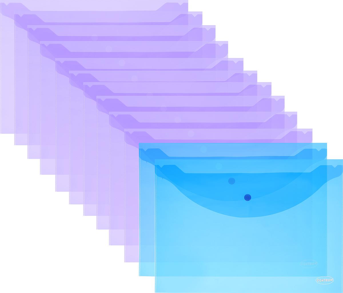 Centrum Папка-конверт на кнопке цвет фиолетовый синий 12 штAC-1121RDПапка-конверт на кнопке Centrum - это удобный и функциональный офисный инструмент, предназначенный для хранения и транспортировки рабочих бумаг и документов формата А4. Папка изготовлена из полупрозрачного полипропилена и закрывается клапаном на кнопке.В упаковке 12 папок.