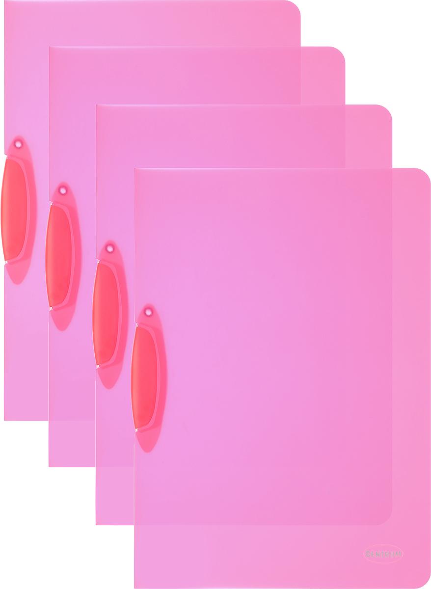 Centrum Папка с клипом цвет малиновый 4 штPP-220Папка с клипом Centrum станет вашим верным помощником дома и в офисе. Это удобный и функциональный инструмент, предназначенный для хранения и транспортировки рабочих бумаг и документов формата А4.Папка изготовлена из прочного и высококачественного пластика, оснащена боковым клипом, позволяющим фиксировать неперфорированные листы. Уголки имеют закругленную форму, что предотвращает их загибание и помогает надолго сохранить опрятный вид обложки. В комплект входят 4 папки малинового цвета.