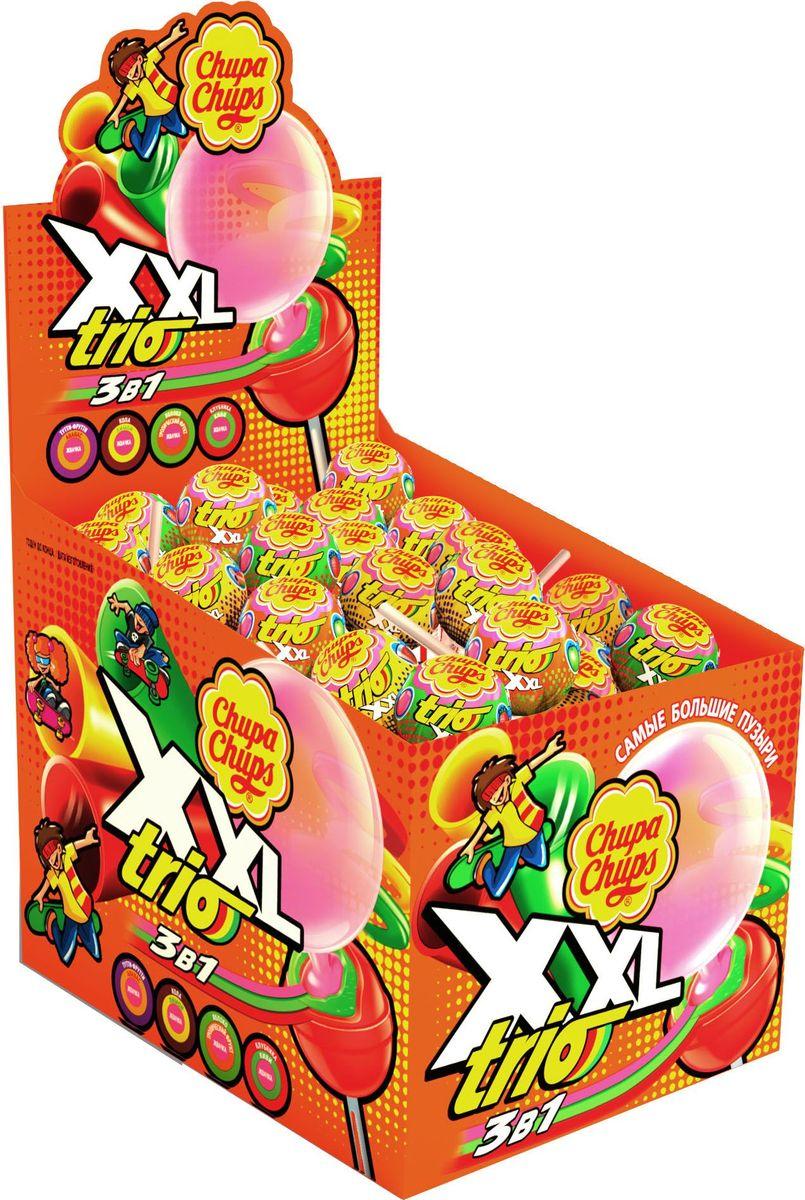 Chupa Chups карамель XXL Trio ассорти, 40 шт по 29 г5060295130016Чупа Чупс XXL Trio - два вкуса карамели и жвачка с самыми большими пузырями. Ассорти из 4-х комбинаций вкусов: клубники и киви, энергетического напитка и ананаса, колы и лимона, яблока и тропического фрукта.