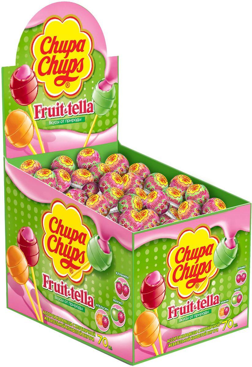 Chupa Chups карамель Fruittella ассорти, 70 шт по 17 г0120710Карамель Чупа Чупс + Fruit-tella - карамель на палочке с фруктовым соком и жевательной конфетой Фрут-телла внутри. Вкусы: клубника, яблоко, апельсин.