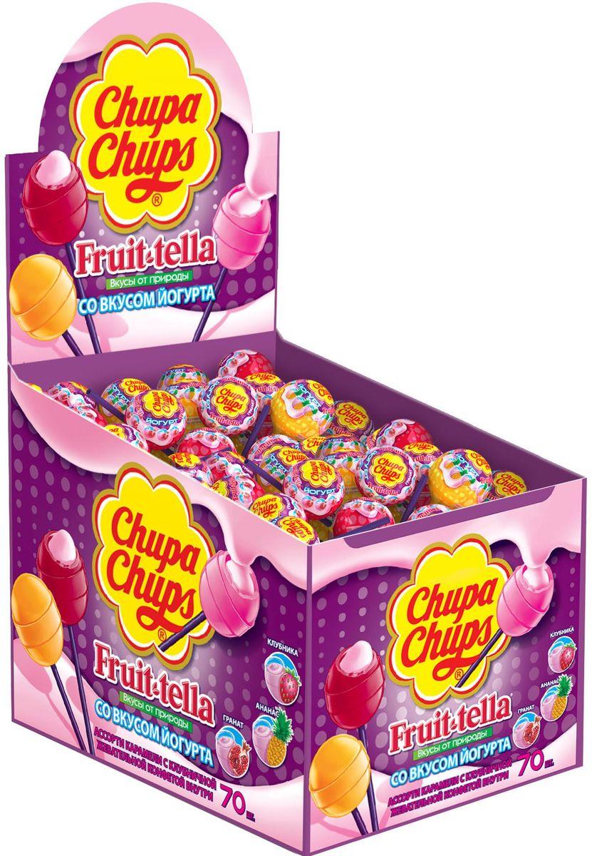 Chupa Chups карамель Fruttella Йогурт ассорти, 70 шт по 17 гP140106602Карамель Чупа Чупс + Fruit-tella Йогурт - карамель на палочке с фруктовым соком и жевательной конфетой Фрут-телла внутри. Вкусы: клубника, яблоко, апельсин.