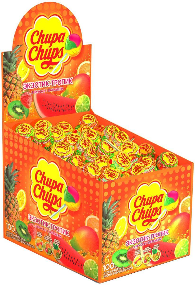 Chupa Chups карамель Экзотик-Тропик ассорти, 100 шт по 12 гирш004Ассорти вкусов с натуральным соком: клубники, зеленого яблока, апельсина, ежевики, а также вкуса колы.