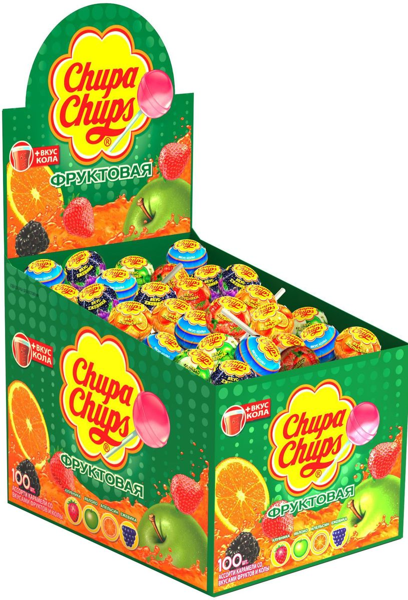 Chupa Chups карамель Ассорти, 100 шт по 12 г0120710Ассорти вкусов с натуральным соком: клубники, зеленого яблока, апельсина, ежевики, а также вкуса колы.