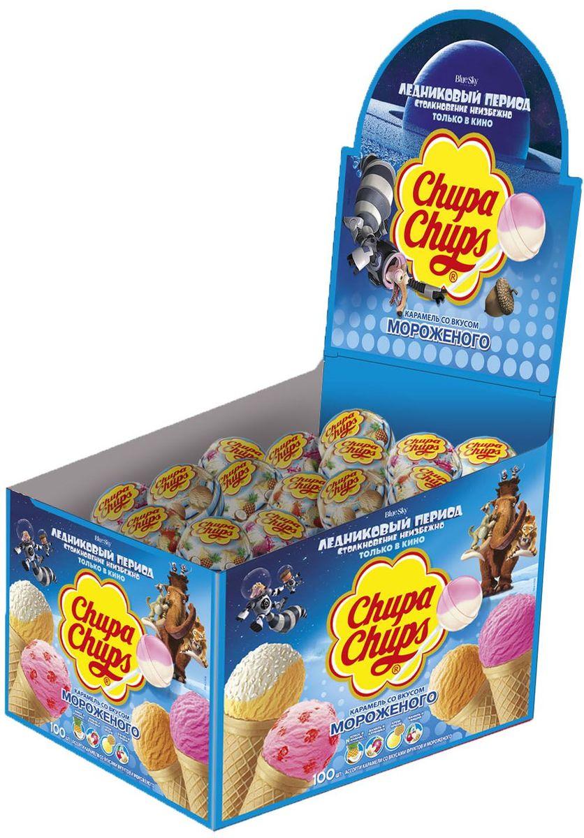 Chupa Chups карамель со вкусом мороженого, 100 шт по 12 г0120710Леденцы на палочке - излюбленное лакомство любого малыша. Продукция Чупа Чупс отличается от других сладостей креативным и привлекательным внешним видом, вызывающим любопытство.Самые популярные вкусы мороженого: кокос-ананас, ваниль-клубника, крем-брюле и ваниль-вишня.