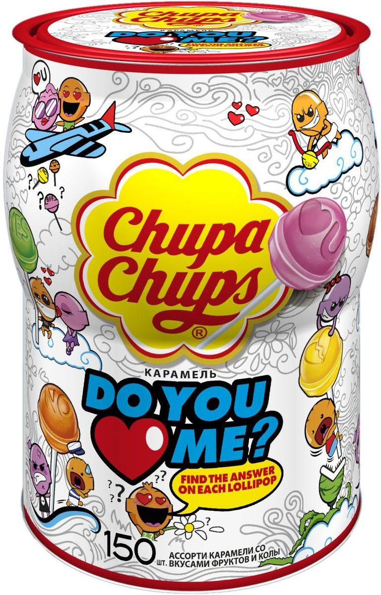 Chupa Chups карамель Do you love me, ассорти 150 шт по 12 г0120710Карамель на палочке Chupa Chups Do you Love me с сочными фруктовыми вкусами. Первый Чупа Чупс, который дает возможность делиться чувствами с помощью конфет! В линейке 7 различных дизайнов леденца с изображением иконок, отпечатанных на конфете: смайлик, сердце, слова Yes, No и др. Разверните леденец и узнайте ответ на вопрос: Do you Love me?.