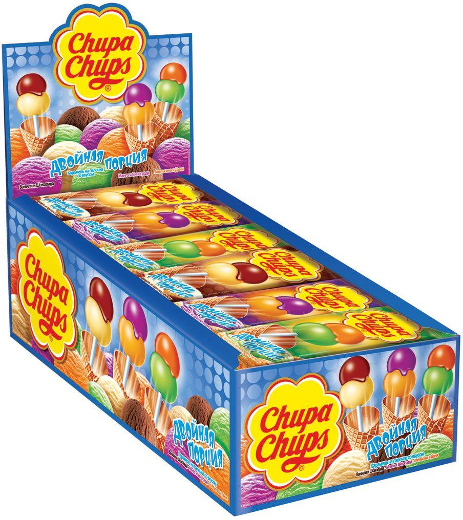 Chupa Chups карамель Двойная порция ассорти, 24 шт по 16,8 г0120710Чупа Чупс Двойная порция - уникальная карамель с двумя шариками на одной палочке. Невероятно гладкая поверхность карамели Chupa Chups.