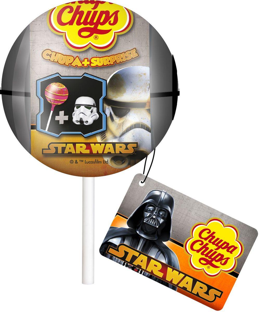 Chupa Chups карамель + Сюрприз Звездные Войны, 12 г5900353643792Кaрамель Чупа Чупс со вкусом клубники и игрушка из коллекции Звёздные Войны.
