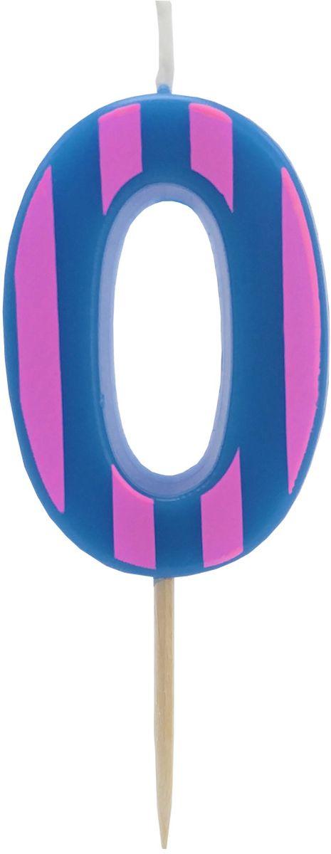 Action! Свеча-цифра для торта 0 лет цвет фиолетовый
