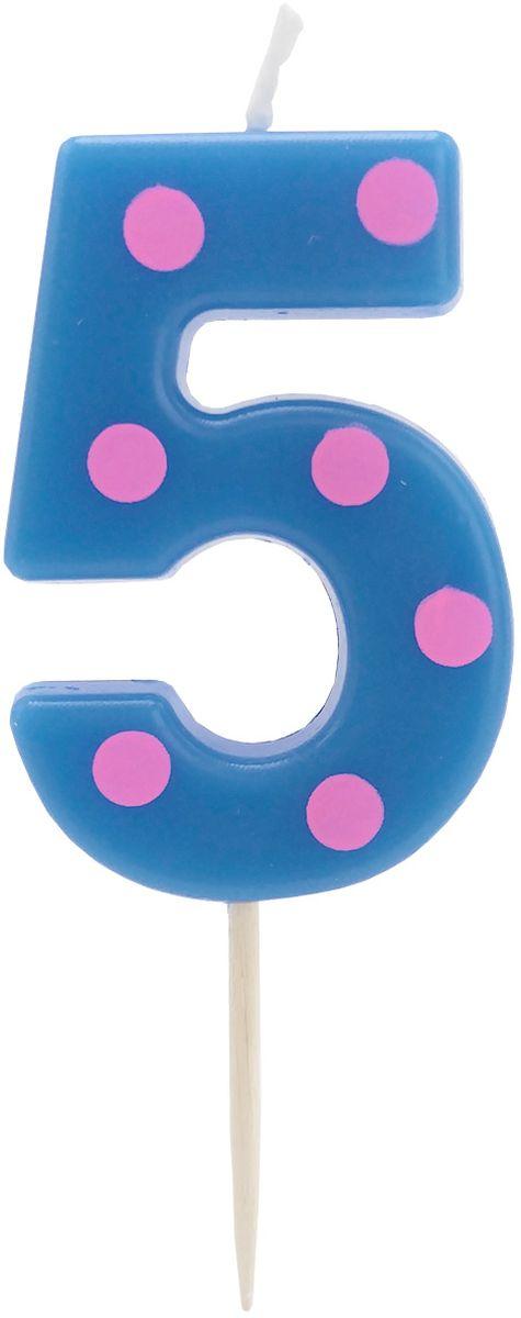 Action! Свеча-цифра для торта 5 лет цвет синий розовый