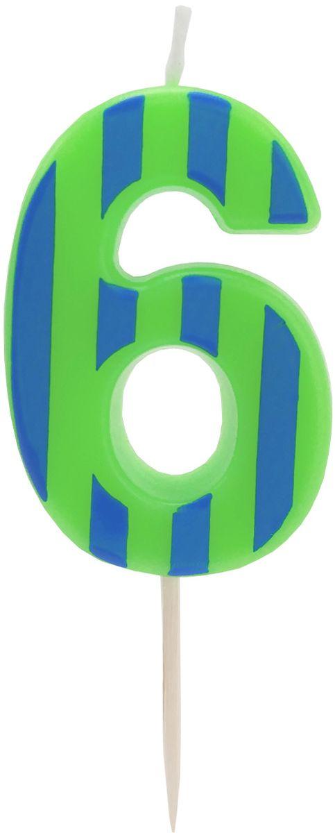 Action! Свеча-цифра для торта 6 лет цвет зеленый синий