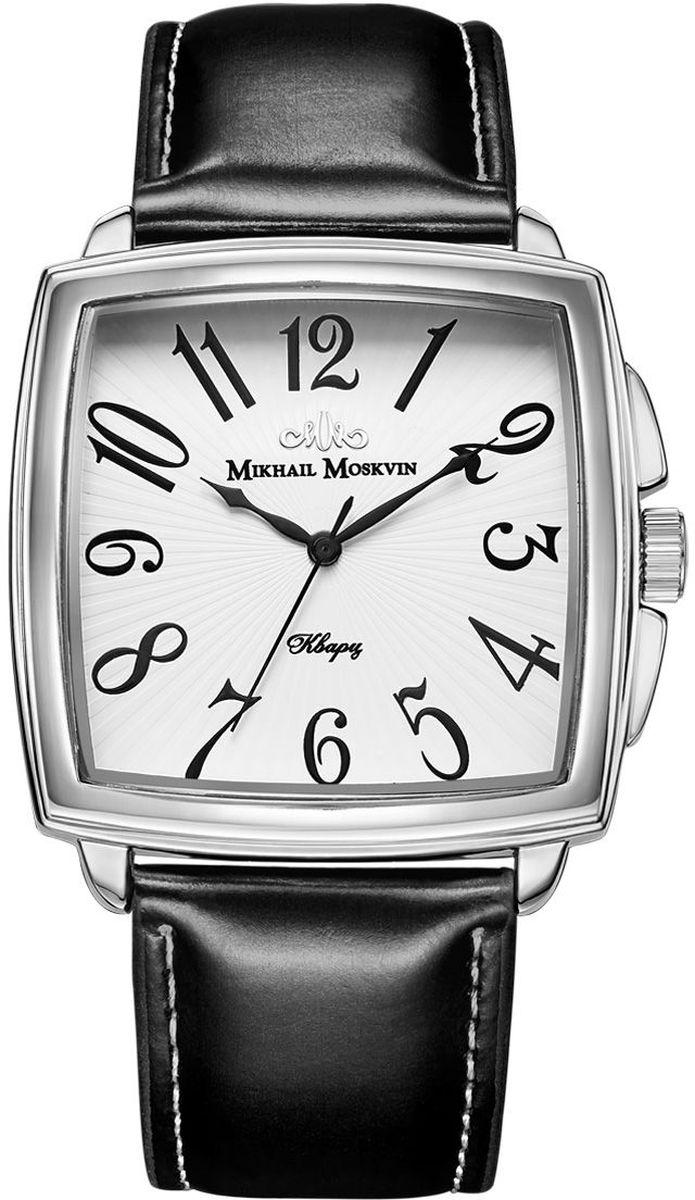 Часы наручные мужские Mikhail Moskvin, цвет: серебристый, черный. 1039A1L6BM8434-58AEНаручные кварцевые часы Mikhail Moskvin выполнены из высококачественных материалов. Корпус выполнен из высококачественного металла с напылением ионами стали. Ремешок, выполненный из гладкой кожи, застегивается с помощью пряжки. Часы оснащены минеральным, устойчивым к царапинам, стеклом с сапфировым напылением и задней крышкой из гипоаллергенной нержавеющей стали.