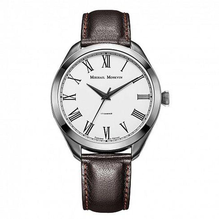 Zakazat.ru Часы наручные мужские Mikhail Moskvin, цвет: серебристый, темно-коричневый. 1117A1L7