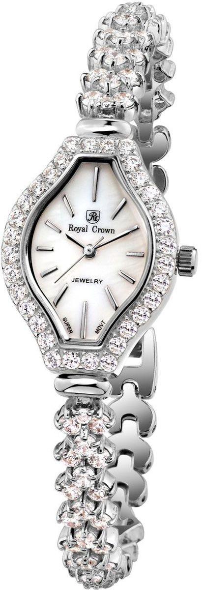 Часы наручные женские Royal Crown, цвет: серебристый. 63815-RDM-5BM8434-58AEНаручные кварцевые часы Royal Crown выполнены из высококачественного металла и оформлены вставками из страз. Браслет оснащен удобной металлической застежкой, которая надежно зафиксирует изделие на запястье. Часы оснащены минеральным, устойчивым к царапинам, стеклом с сапфировым напылением и задней крышкой из гипоаллергенной нержавеющей стали.