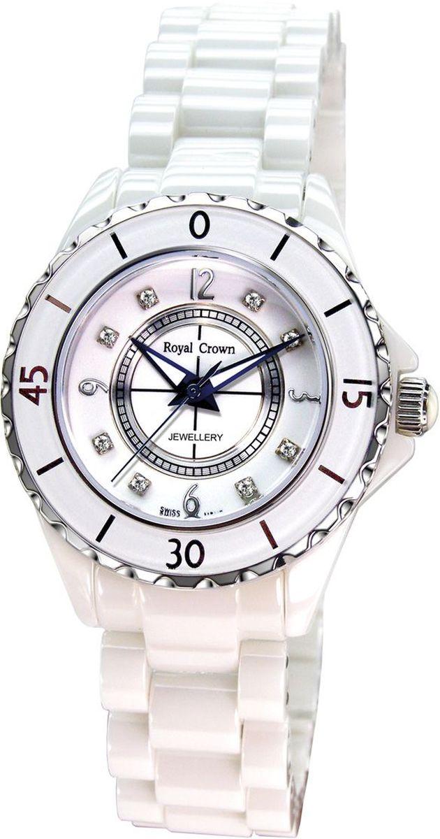 Часы наручные женские Royal Crown, цвет: белый. 3821M-5-RDM-7BM8434-58AEНаручные кварцевые часы Royal Crown выполнены из высококачественного металла. Браслет, выполненный из высококачественной керамики, оснащен удобной металлической застежкой, которая надежно зафиксирует изделие на запястье. Часы оснащены минеральным, устойчивым к царапинам, стеклом с сапфировым напылением и задней крышкой из гипоаллергенной нержавеющей стали.