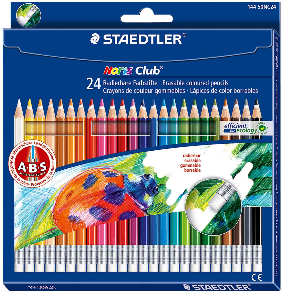 Staedtler Набор цветных карандашей Noris Club 24 шт281800Цветные карандаши с ABS системой. Стираются ластиком! Белое защитное кольцо усиливает грифель и повышает его ударопрочность.Грифель не ломается и не крошится при заточке. Корпус карандашей выполнен из сертифицированной особо прочной древесины.В наборе 24 карандаша ярких насыщенных цветов.