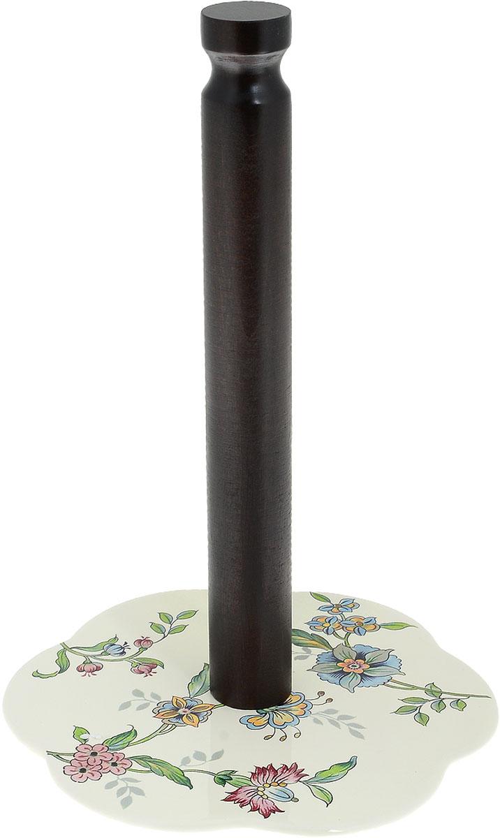 Держатель для бумажных полотенец Nuova Cer Прованс, цвет: молочный, коричневый, высота 29 см24302Держатель Nuova Cer Прованс, изготовленный из высококачественного дерева и керамики, предназначен для бумажных полотенец. Изделие имеет широкое фигурное основание. Такой держатель станет полезным аксессуаром в домашнем быту и идеально впишется в интерьер современной кухни.Изделие нельзя мыть в посудомоечной машине.Высота держателя 29 см.Диаметр основания 18 см.