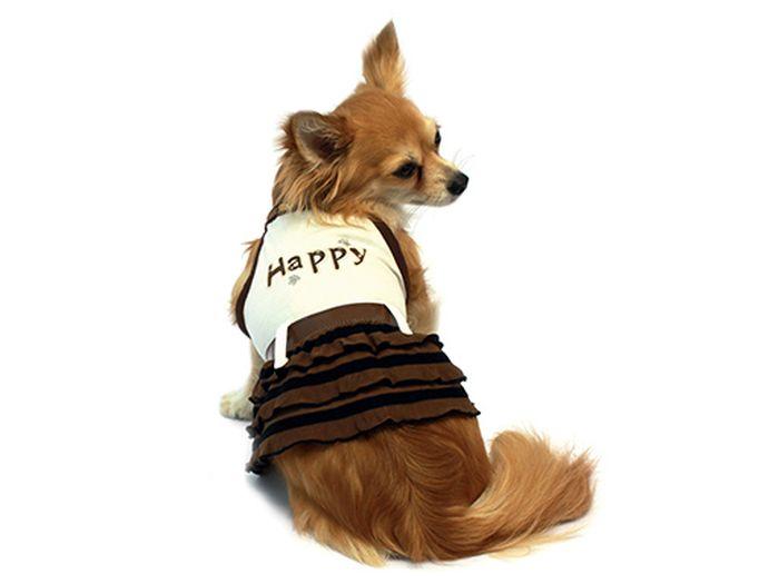 Сарафан для собак Каскад Happy, цвет: бежевый, коричневый. Размер S12171996Стильный сарафан для собак Каскад отлично подойдет для прогулок или для дома. Изделие не имеет рукавов, поэтому не ограничивает свободу движений, и собачка будет чувствовать себя в нем комфортно. Спинка модели дополнена надписью Happy, низ украшен оборками. Модный и удобный сарафан согреет вашего питомца во время прогулок и защитит от пыли и насекомых.Длина по спинке: 20 см.