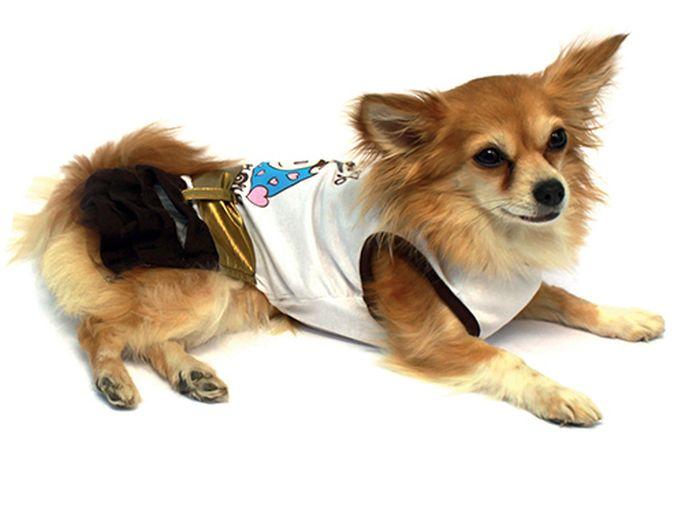 Платье для собак Каскад, цвет: золотой, белый. Размер LDM-140541_фиолетовыйПлатье для собак Каскад выполнено из легкого трикотажа. Платье не имеет рукавов, поэтому не ограничивает свободу движений, и собачка будет чувствовать себя в нем комфортно. Спинка модели украшена ярким рисунком и золотистым поясом. Модное и удобное платье согреет вашего питомца во время прогулок и защитит от пыли и насекомых.Длина по спинке: 30 см.