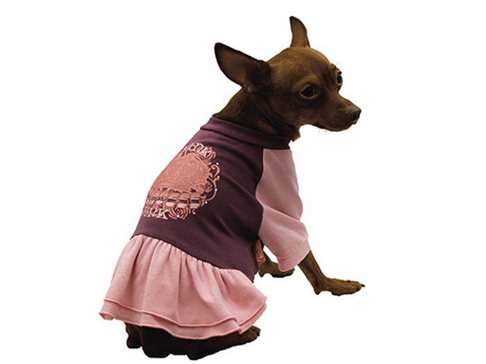 Платье для собак Каскад Pink, цвет: фиолетовый, розовый. Размер LKZ001738Платье для собак Каскад с пышной юбочкой отлично подойдет для прогулок в сухую погоду или для дома. Платье имеет длинные рукава свободного кроя, которые не ограничивают свободу движений, поэтому собачка будет чувствовать себя в нем комфортно. Спинка модели украшена узорами, низ дополнен оборками.Модное и удобное платье согреет вашего питомца во время прогулок и защитит от пыли и насекомых.Длина по спинке: 30 см.
