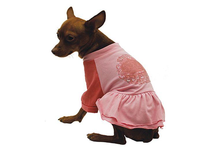 Платье для собак Каскад Pink, цвет: розовый, коралловый. Размер XL0120710Платье для собак Каскад с пышной юбочкой отлично подойдет для прогулок в сухую погоду или для дома. Платье имеет длинные рукава свободного кроя, которые не ограничивают свободу движений, поэтому собачка будет чувствовать себя в нем комфортно. Спинка модели украшена узорами, низ дополнен оборками.Модное и удобное платье согреет вашего питомца во время прогулок и защитит от пыли и насекомых.Длина по спинке: 35 см.