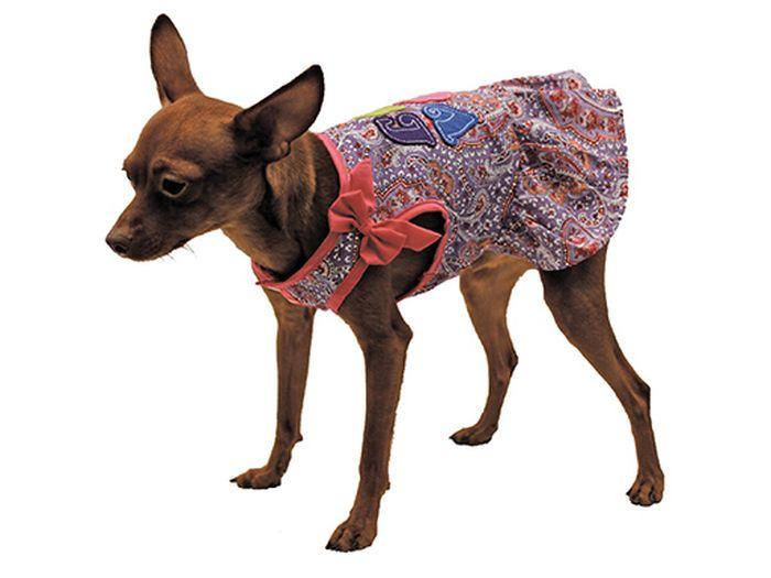 Сарафан для собак Каскад Восточный огурец. Love, цвет: розовый, фиолетовый. Размер LKZ001809Стильный сарафан для собак Каскад отлично подойдет для прогулок или для дома. Изделие не имеет рукавов, поэтому не ограничивает свободу движений, и собачка будет чувствовать себя в нем комфортно. Модель украшена принтом в восточном стиле, дополнена бантиком и надписями на спинке. Модный и удобный сарафан согреет вашего питомца во время прогулок и защитит от пыли и насекомых.Длина по спинке: 30 см.