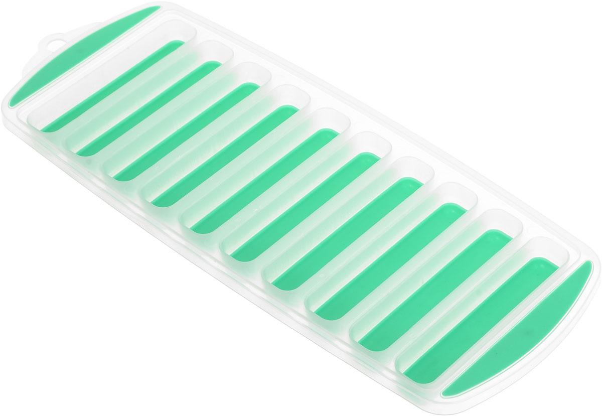 Форма для льда Menu Айсберг, цвет: зеленый, прозрачный, 10 ячеекASB-10_зеленыйФорма Menu Айсберг, изготовленная из высококачественного пластика с гибким дном, содержит 10 ячеек. Прекрасно подходит для приготовления длинных и тонких льдинок, которые идеально подходят для охлаждения бутылок с водой и напитками. Форма также подходит для замораживания воды, сока, мороженного, трав в масле, вина, шоколада и бульона. Размер ячейки: 1,8 х 9,5 см. Количество ячеек: 10 шт. Размер формы: 11,5 х 29,5 х 2 см.