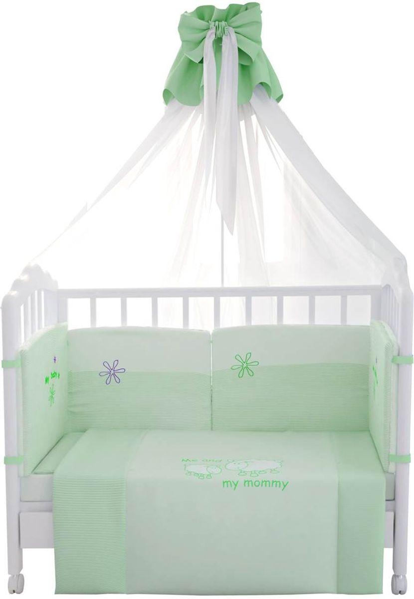 Fairy Комплект белья для новорожденных Белые кудряшки цвет белый зеленый 7 предметов1019.4