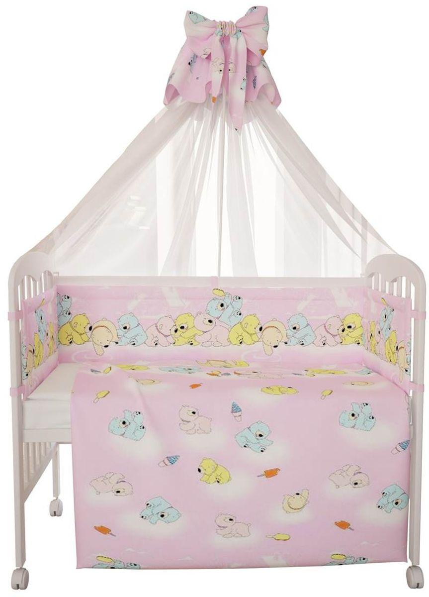 Фея Комплект белья для новорожденных Мишки цвет розовый 7 предметов5558-2
