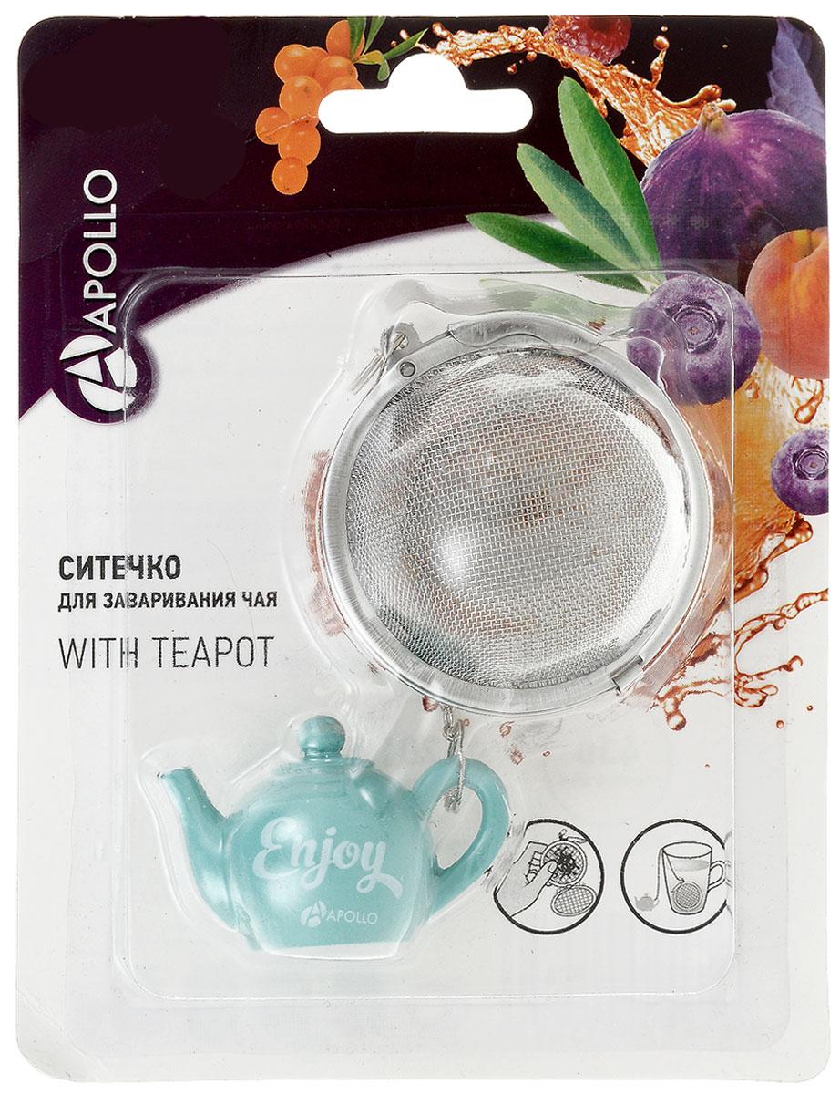 Ситечко для чая Apollo With Teapot, цвет: бирюзовый, диаметр 5 см68/5/3Ситечко Apollo With Teapot прекрасно подходит для заваривания любого вида чая. Изделие выполнено из нержавеющей стали. Ситечком очень легко пользоваться - просто насыпьте заварку внутрь и погрузите на дно кружки. Ситечко дополнено металлическойцепочкой с фигуркой заварочного чайника из полирезина. Забавная и приятная вещица для вашего домашнего чаепития.Не рекомендуется мыть в посудомоечной машине.Размер фигурки: 4,5 х 3 х 2,5 см. Диаметр ситечка: 5 см.
