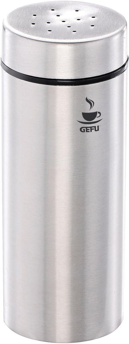 Дозатор для какао Gefu ФинаVT-1520(SR)При помощи диспенсера Gefu Фина можно равномерно посыпать и украшать пирожные, торты или молочную пену. Можно использовать для какао или сахарной пудры. Выполнен из нержавеющей стали и пластика.