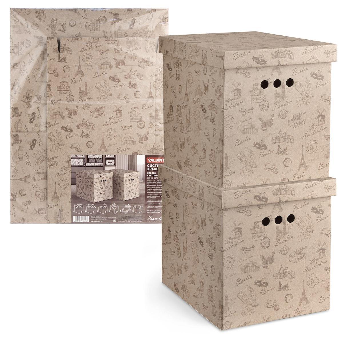 Короб для хранения Valiant Travelling, складной, 28 х 38 х 31,5 см, 2 штTR-BCTN-2MКороб для хранения Valiant Travelling изготовлен из картона. Изделие легко и быстро складывается. Оснащен крышкой и тремя отверстиями, которые позволяют удобно его выдвигать. Такой короб прекрасно подойдет для хранения бытовых мелочей, аксессуаров для рукоделия и других мелких предметов. С ним все мелкие вещи будут храниться аккуратно и не потеряются. Размер изделия (в собранном виде): 28 х 38 х 31,5 см.