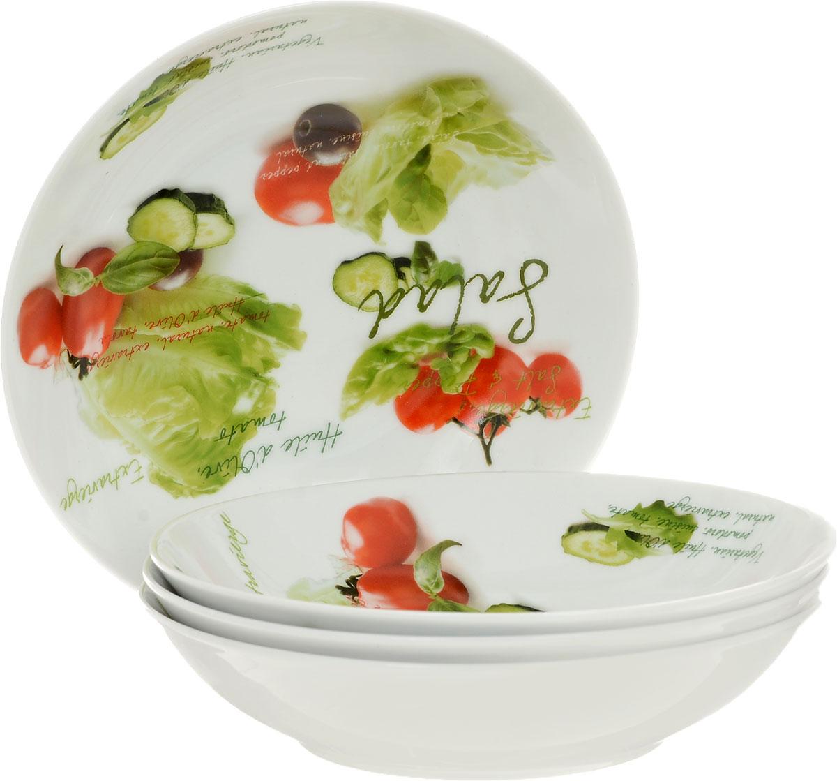 Набор глубоких тарелок Nuova R2S Салат, диаметр 20 см, 4 шт54 009312Набор Nuova R2S Салат состоит из четырех глубоких тарелок, выполненных из высококачественного фарфора. Изделия декорированы красочным изображением овощей. Такой набор украсит сервировку стола и порадует вас дизайном.