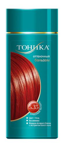 Тоника Оттеночный бальзам 5.35 Красный янтарь, 150 млC5424200Красивые и здоровые волосы- важный элемент имиджа! Для экстравагантных и смелых людей, для тех, кто хочет быть в центре внимания прекрасно подойдет оттенок Красный янтарь!Подходит для светло-русых, русых и темно-русых волос Не содержит спирт, аммиак и перекись водорода Содержит уникальный экстракт белого льна Красивый оттенок + дополнительный уход Стойкий цвет без вреда для волос