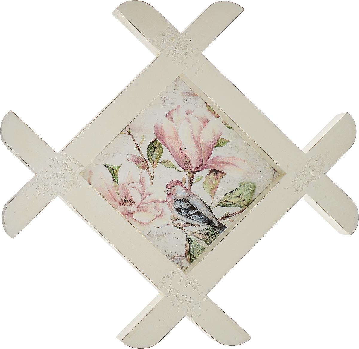 Картина-репродукция Феникс-Презент Цветы и птица, 35 х 35 х 1,5 смБрелок для ключейКартина-репродукция Феникс-презент Цветы и птица в рамке из МДФ выполнена печатью на бумаге с ручной подрисовкой. На оборотной стороне имеется петля для подвешивания на стену.Такая картина - вдохновляющее декоративное решение, привносящее в интерьер нотки творчества и изысканности! Благодаря оригинальному дизайну картина Цветы и птица дополнит интерьер любого помещения, а также сможет стать изысканным подарком для ваших друзей и близких.