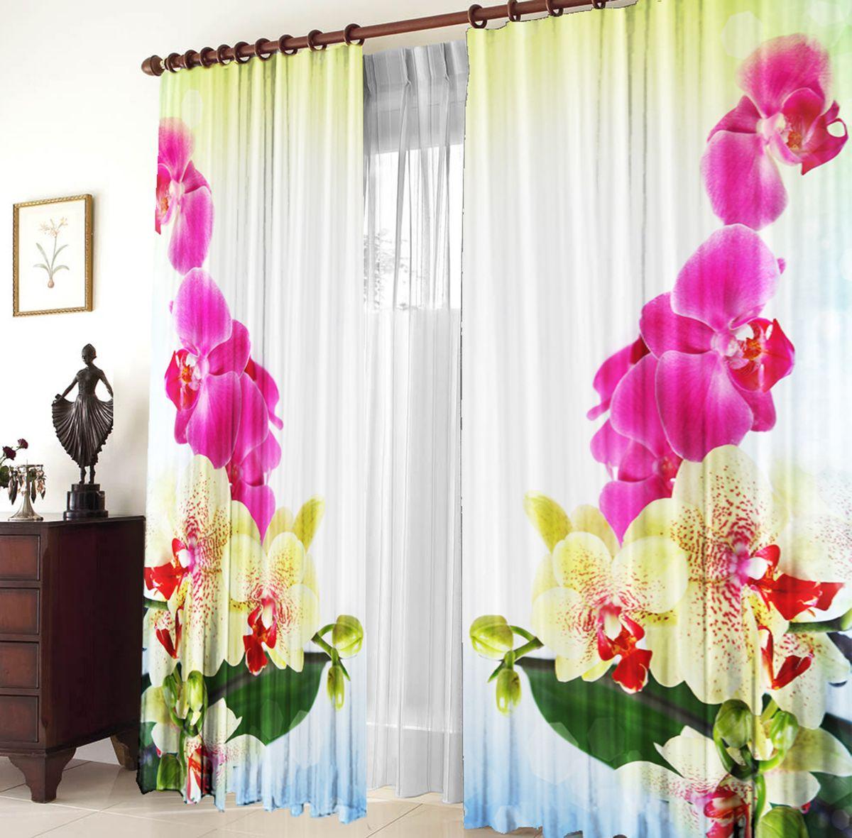 Комплект фотоштор Zlata Korunka Тигровая орхидея, на ленте, высота 270 см03471-ФТ-ВЛ-001Комплект фотоштор Zlata Korunka изготовлен из габардиновой ткани высочайшего качества. Фотошторы способны не пропускать самый яркий свет, их можно гладить и стирать. Рекомендации по уходу: бережная стирка при 30°С, деликатный отжим, отбеливание запрещено, гладить при температуре не более 150°С. Светопоглощение 70%. Плотность ткани: 150 г/м2. Оттенок изделия может отличаться от представленного на сайте в силу особенностей цветопередачи фототехники и вашего монитора.