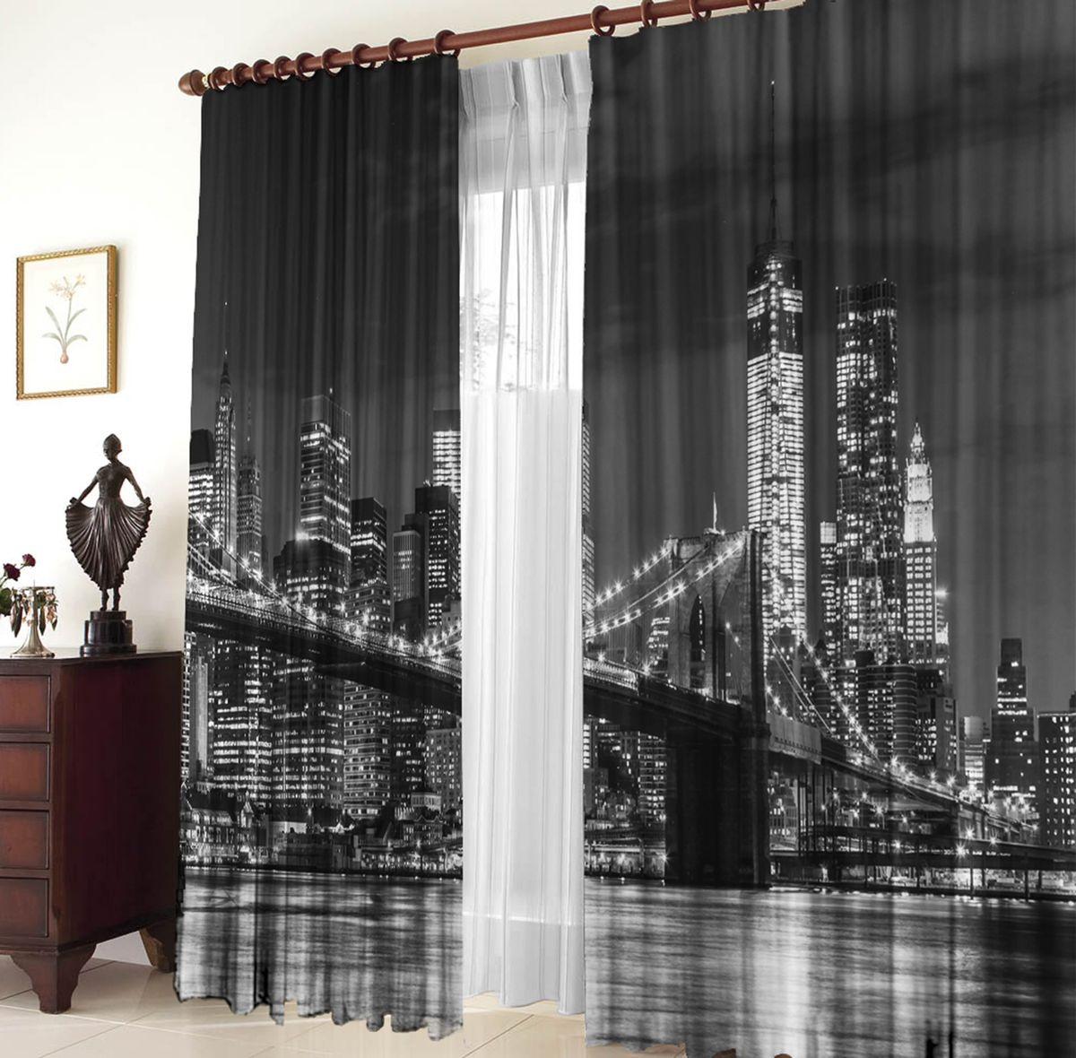 Комплект фотоштор Zlata Korunka Бруклинский мост, на ленте, высота 270 см1004900000360Комплект фотоштор Zlata Korunka Бруклинский мост на ленте изготовлен из высококачественного 100% полиэстера. Фотошторы можно гладить и стирать.Уход: бережная стирка при 30°С, деликатный отжим, отбеливание запрещено, гладить при t не более 150°С.Светопоглощение 70%. Плотность ткани: 150 г/м2. Ширина штор: 150 см.Внимание!Оттенок изделия может отличаться от представленного на сайте из-за особенностей цветопередачи фототехники и вашего монитора.
