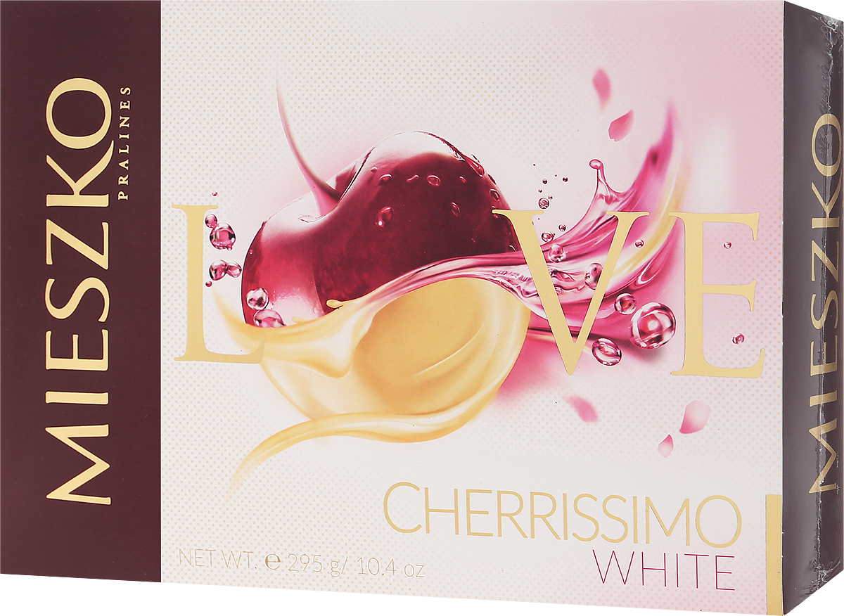 Mieszko Черрисимо Белое набор шоколадных конфет, 295 г0120710Mieszko Черрисимо - набор белых шоколадных конфет с начинкой. Каждая конфетка изготовлена из качественного белого шоколада с начинкой из вишни в ликере. Удобная и красочная упаковка делает эти конфеты не только прекрасным лакомством, но и отличным подарком для своих близких.Уважаемые клиенты! Обращаем ваше внимание, что полный перечень состава продукта представлен на дополнительном изображении.