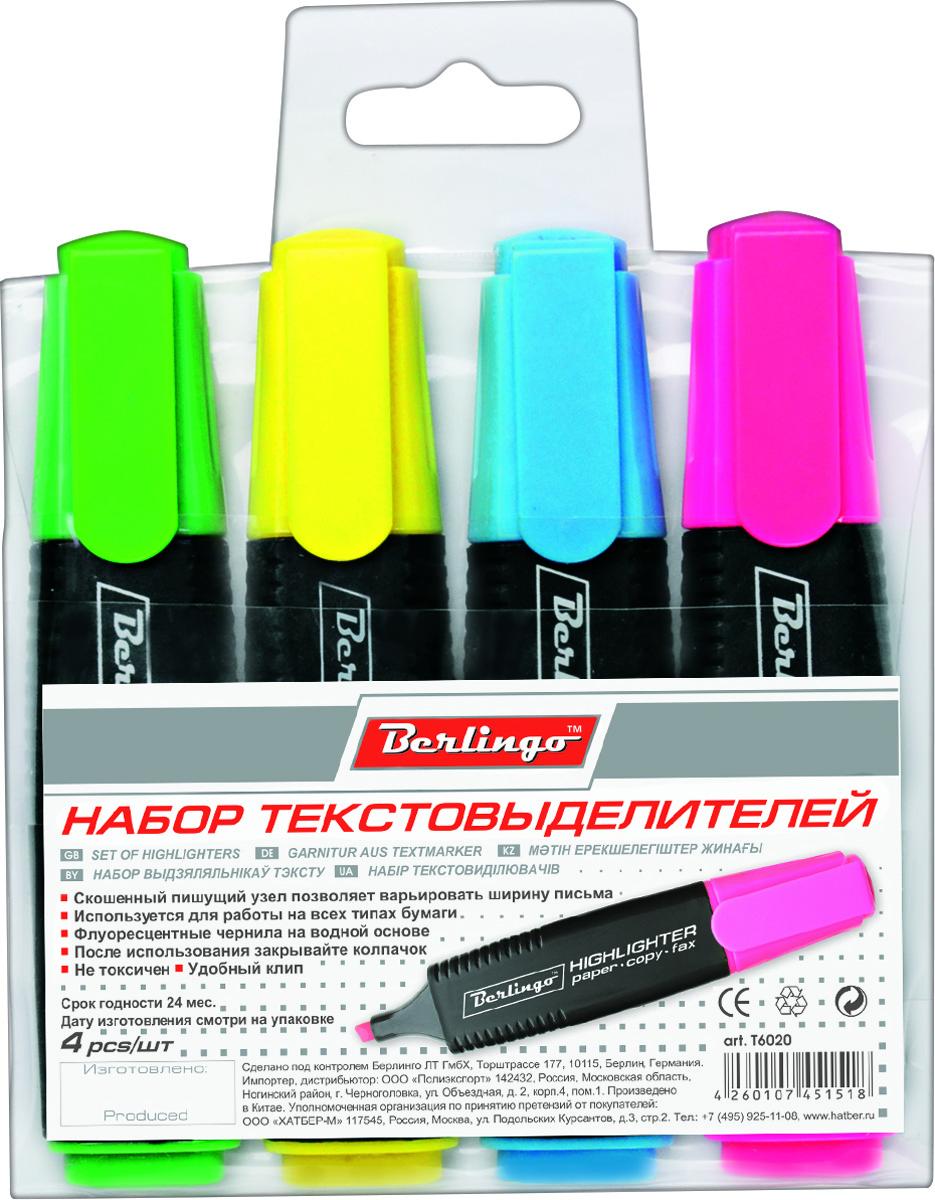 Berlingo Набор текстовыделителей Slim 4 цвета T602072523WDНабор текстовыделителей Berlingo включает в себя 4 текстовыделителя с флуоресцентными чернилами на водной основе. В наборе - 4 цвета (желтый, зеленый, синий, розовый). Толщина линии от 1 до 5 мм. Удобный клип. Цвет колпачка и торцевого элемента соответствует цвету чернил. Упаковка - прозрачный ПВХ-пенал с европодвесом.