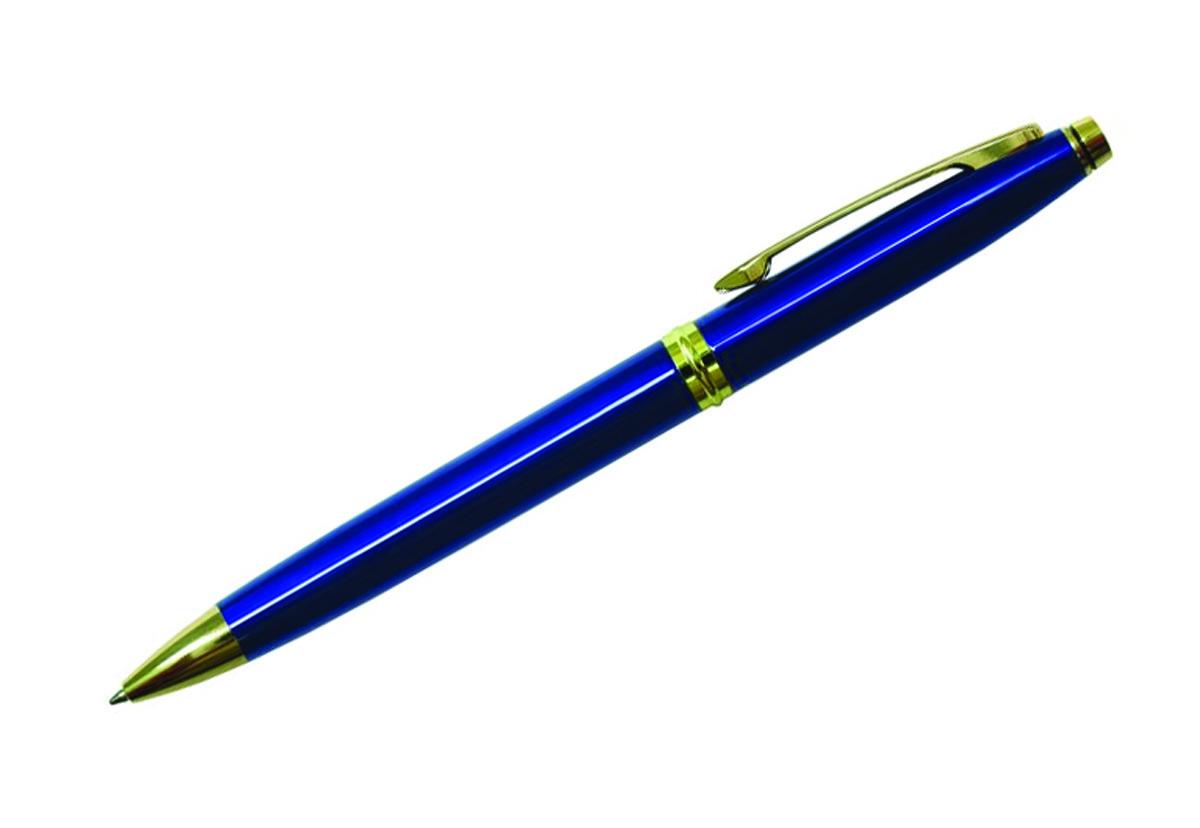 Berlingo Ручка шариковая Silver Luxe цвет корпуса синий золотистый90613Шариковая ручка Berlingo Silver Luxe - это классическая автоматическая шариковая ручка с поворотным механизмом. Клип, наконечник и кольцо выполнены из жёлтого металла. Цвет чернил - синий. Диаметр пишущего узла - 0,7 мм. Подходит для нанесения логотипа. Ручка упакована в индивидуальный пластиковый футляр.