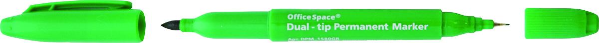 OfficeSpace Маркер перманентный двухсторонний цвет зеленыйDPM_1580GRПерманентный двухсторонний маркер OfficeSpace предназначен для письма на большинстве поверхностей: бумаге, коже, пластике, металле, резине, ткани. Маркер имеет пулевидный наконечник.