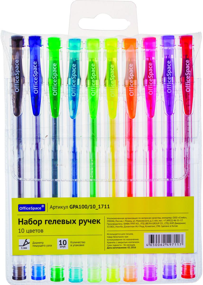 OfficeSpace Набор гелевых ручек 10 цветов GPA100/10_1711PP-304Набор гелевых ручек OfficeSpace отлично подойдет для оформления конспектов и других текстов, а также альбомов, дневников и открыток.Ручка имеет пишущий узел толщиной 1,0 мм. Корпус изделий выполнен из прозрачного пластика, цвет колпачка соответствует цвету чернил. В набор входят 10 ручек различных цветов.