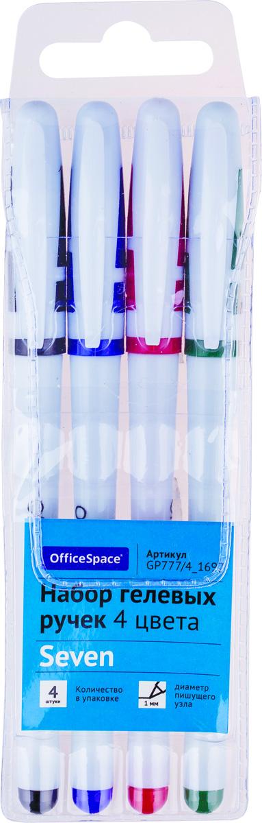 OfficeSpace Набор гелевых ручек 4 цветов GP777/4_1697FS-00103Набор гелевых ручек OfficeSpace в белом корпусе с чернилами 4 цветов. Пишущий узел - 1 мм. Ручки упакованы в ПВХ-чехол с европодвесом.