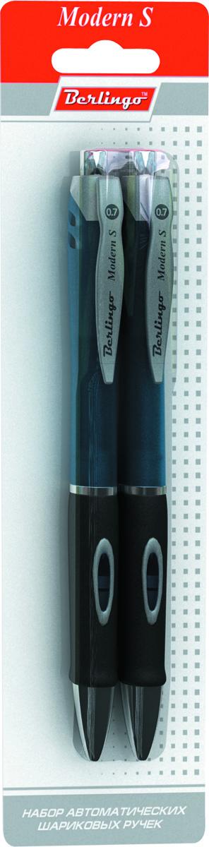 Berlingo Набор шариковых ручек Modern S синие 2 штCBm_702922Автоматическая шариковая ручка Berlingo Modern S с пластиковым клипом и мягким резиновым грипом для комфортного письма. Диаметр пишущего узла - 0,7 мм. Рекомендуются стержни CSb_71242, CSb_71241.