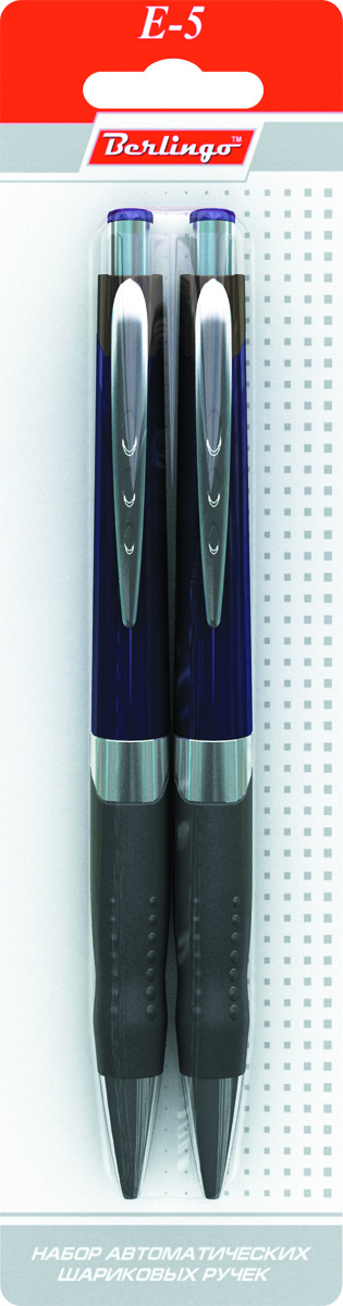 Berlingo Набор шариковых ручек E-5 синие 2 шт72523WDАвтоматическая шариковая ручка Berlingo E-5 с металлическим клипом. Мягкий резиновый грип препятствует скольжению пальцев и обеспечивает комфортное письмо. Кнопочная подача стержня. Диаметр пишущего узла - 0,7 мм. Рекомендуются стержни CSb_71242, CSb_71241.