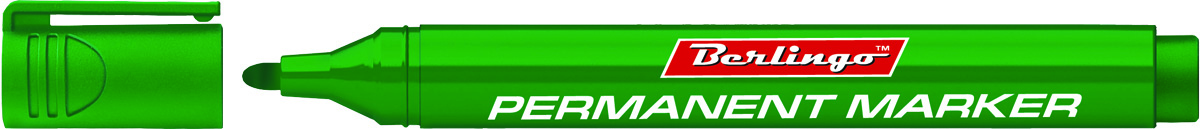 Berlingo Маркер перманентный цвет зеленый BMc_15204FS-36054Перманентный маркер Berlingo предназначен для письма на любой поверхности. Заправлен водостойкими чернилами на спиртовой основе, которые после нанесения быстро высыхают и не стираются. Толщина линии - 3 мм. Цвет чернил - зеленый.
