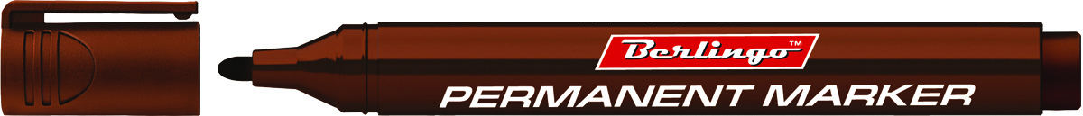 Berlingo Маркер перманентный цвет коричневый BMc_1522272523WDПерманентный маркер Berlingo предназначен для письма на любой поверхности. Заправлен водостойкими чернилами на спиртовой основе, которые после нанесения быстро высыхают и не стираются. Толщина линии - 3 мм.